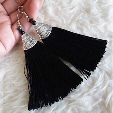 Vintage Womens Bohemian Hippy Black Tassels Dangle Drop Hook 10 cm Long Earrings