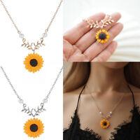 Frauen Boho Anhänger Schlüsselbein Cute Sunflower Halskette Blatt Zweig Schmuck