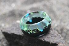 Wood resin ring Mirage Handmade jewelry Epoxy rings for women Glow ring in dark