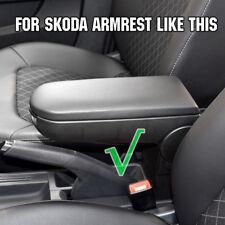 Black Armrest Cover Lid For Skoda Octavia Fabia Roomster Rapid Center Console
