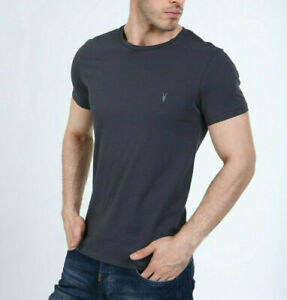 All Saints Mens Smoke Grey Tonic S/S Crew Logo Cotton T-Shirt Tee S M L XL XXL