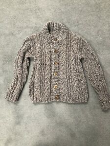 Boys Brown Handmade Chunky Knitted Knot Jumper Cardigan Cable Knit New, Age 5-6