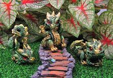 Miniature Fairy Garden Set of 3 Green & Gold Dragons - Buy 3 Save $5