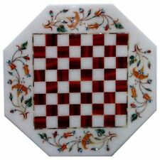 """12"""" Chess Game Marble Table Top Inlay Work Home Decor And Gifts"""