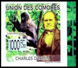 Comoros 2009 MNH imperf, Darwin, Grey-cheeked mangabey, Wild Animals