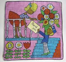 "Ritva Coffon A. Skandia Sweetheart Series Handkerchief Hankie '63 ""Thank You"""
