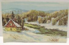 Vintage Christmas Card w/ Cabin in Snow& Forest Trees w/ Glitter