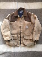 VTG Carhartt Hunting Duck Canvas Jacket Blanket Lined Well Worn Workwear Mens XL
