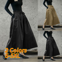 Size Women Wide Leg High Elastic Waist Casual Pants Loose Culottes Trousers 8-26