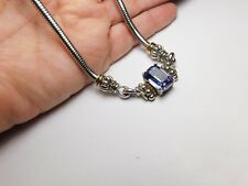 Signed JC Purple Cubic Zirconia Silver & Gold Tone Snake Chain Necklace Vintage