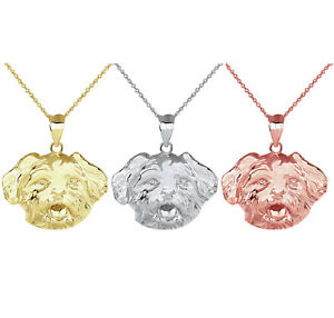 Solid Gold Dog Maltese Head Detailed Dog Sports Pendant Necklace