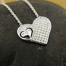 Sterling silver Mom word Heart necklace micro pave CZ Love Pendant N-21