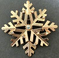 SNOWFLAKE BROOCH IRIDESCENT RHINESTONE CHRISTMAS JEWELRY PIN GOLD TONE METAL