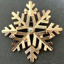 CHRISTMAS SNOWFLAKE BROOCH RHINESTONE JEWELRY PIN