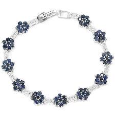 Sterling Silver 925 Genuine Natural Blue Sapphire Gemstone Bracelet 7 Inch