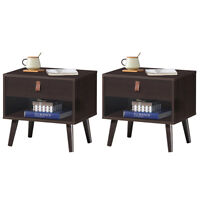 Set of 2 Nightstand Sofa Side End Table Bedside Table w/ Drawer Shelf Wood Legs