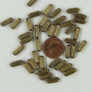504200 *** 20 tubes gaufrés laiton vieil or 10x4mm fabrication italienne(Menoni)