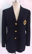 Lauren Ralph Lauren Petite Navy Blue Worsted Wool Blazer Jacket Women's Size 12P