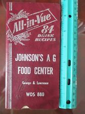 All-in-Vue, 84 drink recipes,Johnson's A G Food Center Ny Wines & Cocktails book