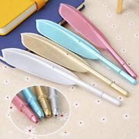 Cute Feather Shape Gel Ballpoint Pen Office School Students Writing Stationery
