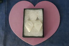 Beautiful Silver Earring With Mother Of Pearl 5 Gr.4.3 Cm.Long + Hoos In Box