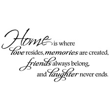 HOME IS WHERE LOVE RESIDES QUOTE VINYL WALL DECAL STICKER ART -REMOVABLE DECOR