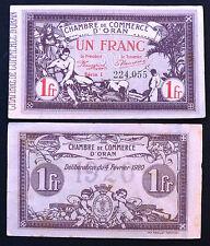BILLET ALGERIE 1 Franc Chambre Commerce Oran Déliberation 4 Février 1920 Série I