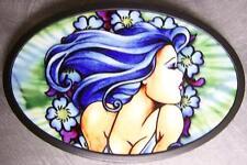 Metal TATTOO belt buckle Blue Hair Girl NEW