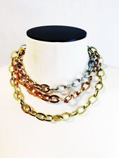 Chunky Chain Necklace Vintage Bold 3 Strand Chainlink Rose Gold Silver Tone Gold