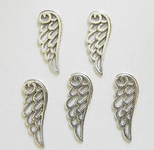 10 Metal Antique Silver Angel Wings/Tercel Wings Charms - 24mm