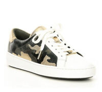 NIB Size 5 Michael Kors Irving Camo Olive Gold Sneakers Leather WB
