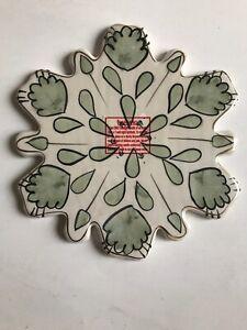 Blue Sky Heather Goldminc Christmas Collectible Snowflake Pillar Candle Plate