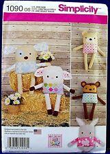 Simplicity Stuffed Animal Sewing Pattern Soft Toy Monkey Dog Lamb Bunny 1090