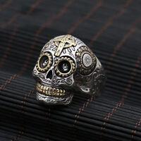 Huge Heavy 925 Sterling Solid Thai Silver Ring Men Biker Skull Size 8 9 10 11 13