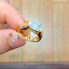 14K Solido Oro Giallo Smeraldo Moissanite e Diamante Fidanzamento Anello 3.50CT