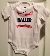 Baby NIKE One Piece Baseball BALLER Bodysuit Size: 3/6 Months NEW