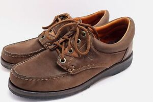 Blackstone Brown Leather Lace Up Loafers Moc Toe Shoes Mens 8.5 Casual Walking