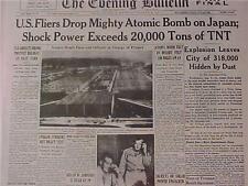 VINTAGE NEWSPAPER HEADLINE~WORLD WAR 2 US PLANE ATOMIC BOMB DROPPED JAPAN WWII