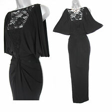 Karen Millen UK 12 Black Lace Jersey Maxi Long Gown Party Christmas Cruise Dress