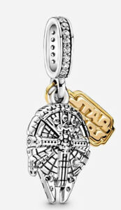 🦋💜 STERLING SILVER 925 STAR WARS MILLENNIUM FALCON CHARM & GIFT POUCH