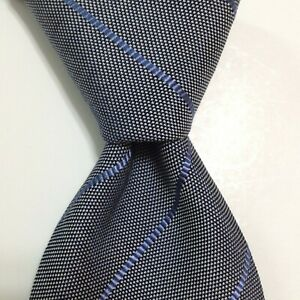 LANVIN Paris Men's Silk/Cotton Necktie FRANCE Designer STRIPED Gray/Blue EUC