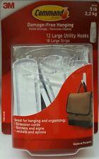 3M Command Damage-Free Hanging 5 lb 12 large utility hooks 18 large strips