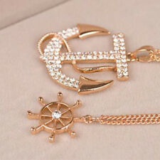 Women Gold Double Chain With Big Rhinestone Long Anchor Pendant Necklace