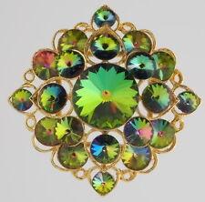 COROCRAFT Brooch Pin Watermelon Rivoli Layered Fabulous Colors Gold tone Vintage