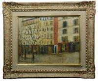 Vtg Repro: Maurice Utrillo Gemälde gerahmt Öldruck Galerie Spitzer Paris 50x42cm