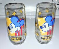Vintage Anchor Hocking Mickey Mouse Disney Glass Tumblers Stars Set of 2
