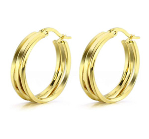 9ct Yellow Gold Filled Hoop Earrings with 3 Layer Twist + GIFT BOX