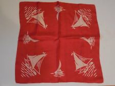 Lovely Vintage Japanese Handkerchief Hankie Red Silk White Sailboats & Water