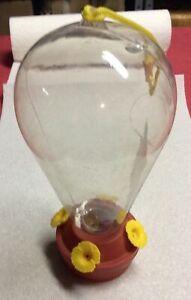 "Hummingbird Feeder Clear Red Yellow Plastic True Living Outdoor Decor 9"""
