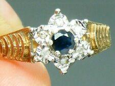 9ct Gold Sapphire & Diamond Hallmarked Heavy Ring size O